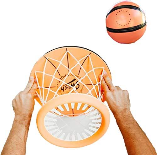 NULINULI Mini aro de Baloncesto para Dormitorio, Juego de Pelota de Tiro montado en el Techo Interior, Juego de Deportes, aro de Baloncesto portátil sin Perforaciones para niños y niñas A