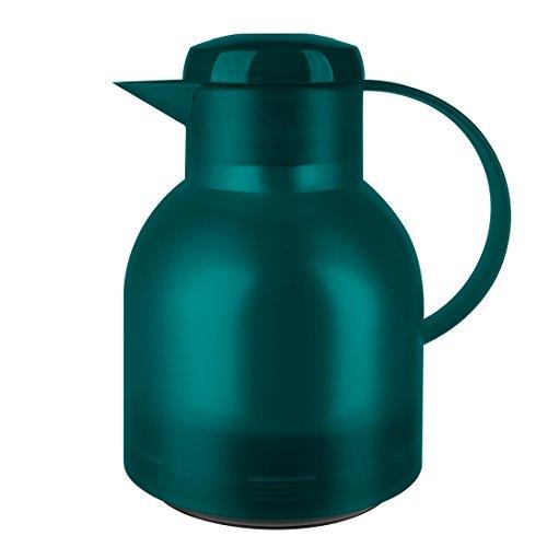 Emsa 505719 Samba Isolierkanne (1 Liter, Quick Press Verschluss, 12h heiß, 24h kalt) türkis
