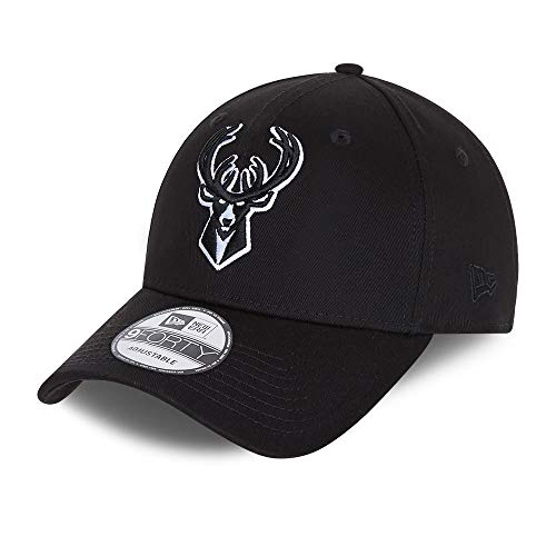 New Era Milwaukee Bucks 9forty Snapback Cap Verstellbar Kappe Black Base Schwarz - One-Size