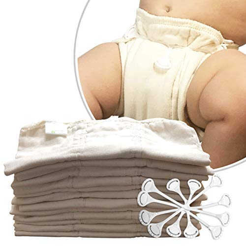 Naturally Nature Prefold Cloth Diapers (12 Pack) Unbleached Premium Cotton Comes with 3 Fasteners Fits Newborn Babies to Toddlers (10-30 lbs)