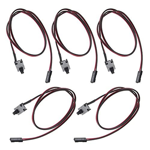 5 cables de alimentación para PC con botón de 2 pines SW pulsador de encendido y apagado ATX para interruptor, cable de reinicio de 50 cm