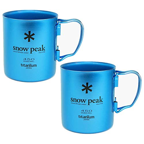 Snow Peak Titanium Double Wall Cup 450 - Fresh Water Blue - 2 Pack