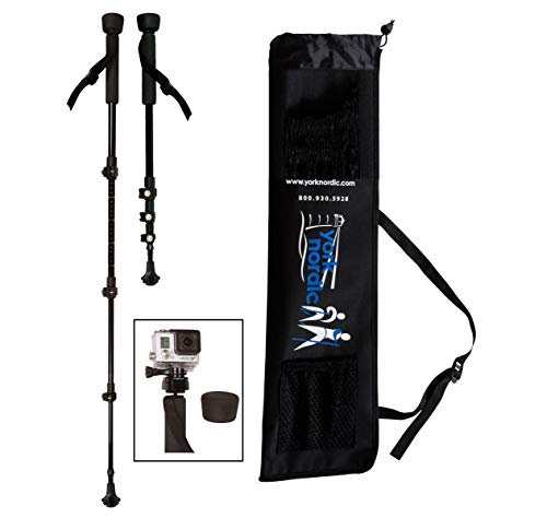 York Nordic PRO Collapsible 4 Piece Trekking/Walking Poles - Pair of monopod poles w/3 flip locks, detachable rubber feet, and GoPro Camera Mount