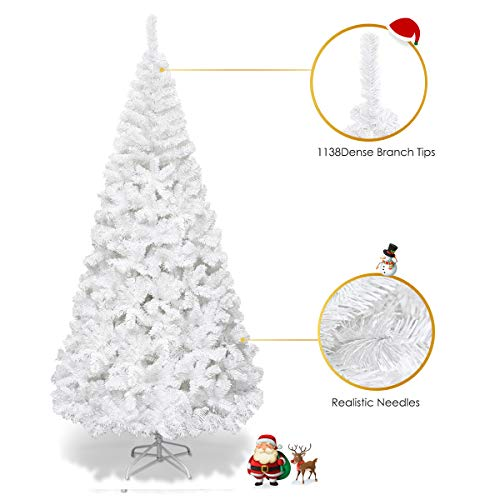 Goplus 8ft Artificial Christmas Tree Xmas Pine Tree with Solid Metal Legs Perfect for Indoor and Outdoor Holiday Decoration, White