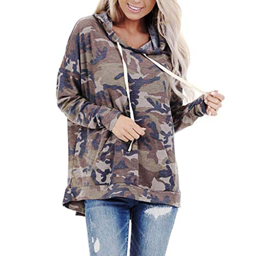 FORH Damen Vintage Camouflage-Style gedruckte Hoodie Sweatshirt super weich Kapuzenpulli Tops Bluse (M, Camouflage D)