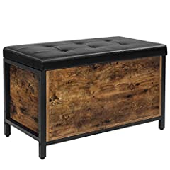 GOOD THINGS COME IN THREES: Imitation leather upholstery, rustic brown engineered wood, and a matte black metal frame unite together to form a storage chest that exudes both Chesterfield charm and the solid construction you're looking for WHAT'S HIDD...