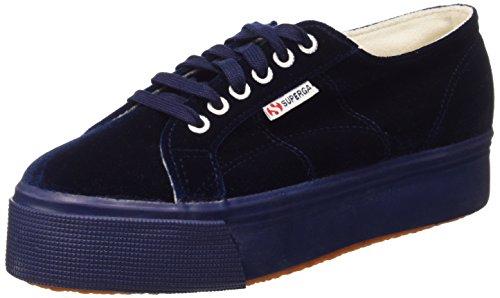 Superga Womens 2790 Velvet Low-Top Sneakers Blue 6 Medium (B,M)