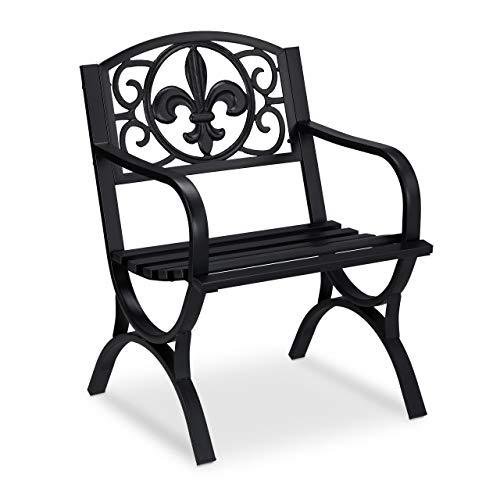 Relaxdays Gartenstuhl Vintage, Gartensessel m. Armlehnen, extra breit, Stahl, antikes Design, 85,5 x 60 x 56 cm, schwarz