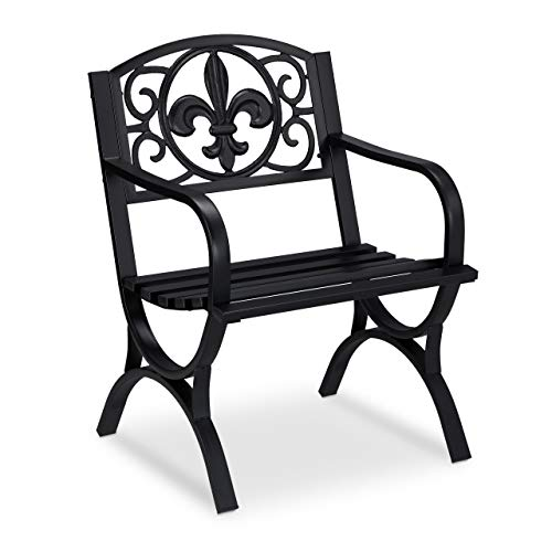 Relaxdays Gartenstuhl Vintage, Gartensessel aus Stahl, Premium Rostschutz, antikes Design, 85,5 x 60 x 56 cm, schwarz