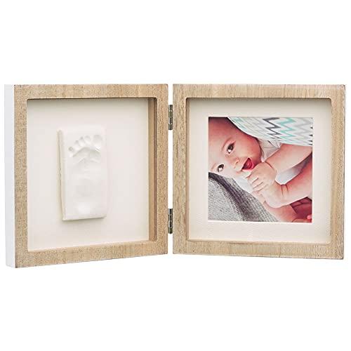 Baby Art 3601098300 Cadre photo en bois 2 parties avec impression plâtre et photo Marron