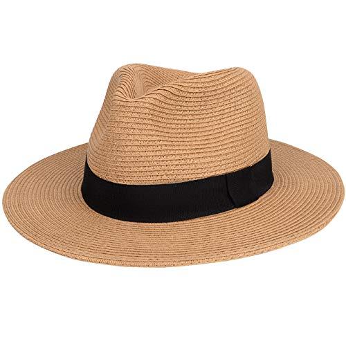 MAYLISACC Sombreros Playa de Paja Verano Plegable, Sombrero de Panamá de ala Ancha Ajustable Sombrero de Paja Fedora Hombre Transpirable, Caqui