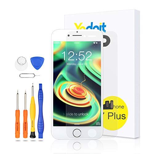 Yodoit Schermo per iPhone 7 Plus Bianco con tasto home LCD Display Completo, vetro Parti di Ricambio 5,5'+ Set Cacciavite