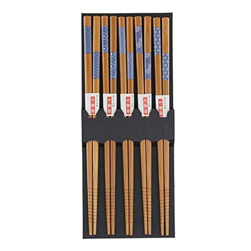 Gnfghdsafd Juego de palillos reutilizables de bambú con diseño de gato de la suerte (5 pares)