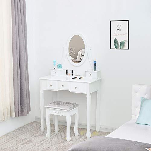 RTWAY - Set da tavolo da toeletta con specchio e 5 cassetti, per camera da letto e privata, con sgabello imbottito per il trucco, per donne e ragazze