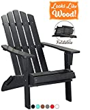PolyTEAK Classic Folding Poly Adirondack Chair, Powder White | Adult-Size, Weather Resistant, Made from Special Formulated Poly Lumber Plastic