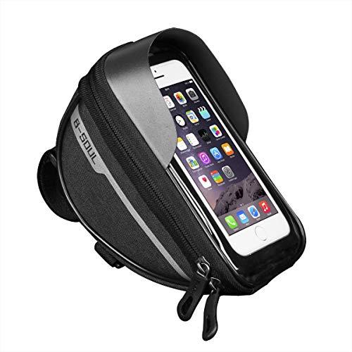Eidoct B-Soul Fahrrad-Handy-Frontrahmen-Tasche, wasserdicht, Vorderrahmen, Oberrohr-Lenkertasche mit Touchscreen-Halterung für Android/iPhone Handys unter 6,5 Zoll, schwarz