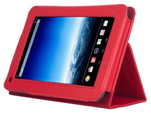Navitech bycast Leder Case / Cover für das Medion Lifetab E7312 (Medion Lifetab E7312, rot)