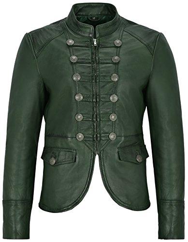Damen Lederjacke grün Victory Military Parade Style echte weiche Lammfell 8976 (EU 38 / UK 12)