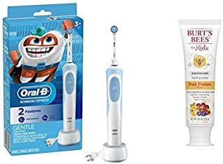 Oral-B Kids Electric Toothbrush for Kids 3+ with Burt's Bees Kids Toothpaste, Fluoride Free, Fruit Fusion, 4.2 Ounce