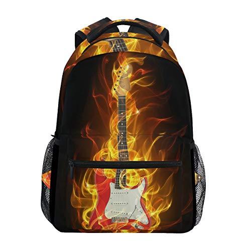 WowPrint Musik E-Gitarre Feuer Muster Rucksack Büchertasche Schulrucksäcke Rucksack Wandern Daypack für Mädchen Kinder Jungen Damen Herren Unisex
