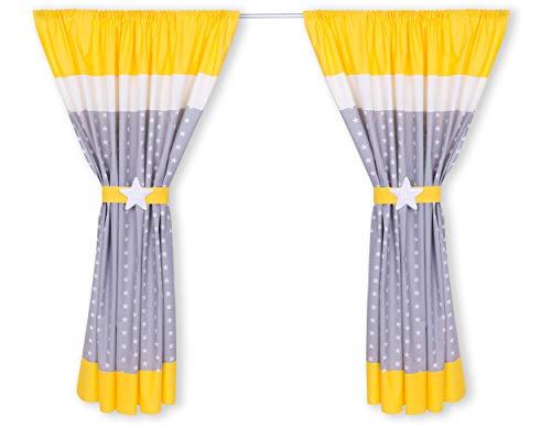 Amilian® Kinderzimmer Vorhänge 155 x 155 cm Set mit Schlaufen Baby Gardinen Vorhang V15