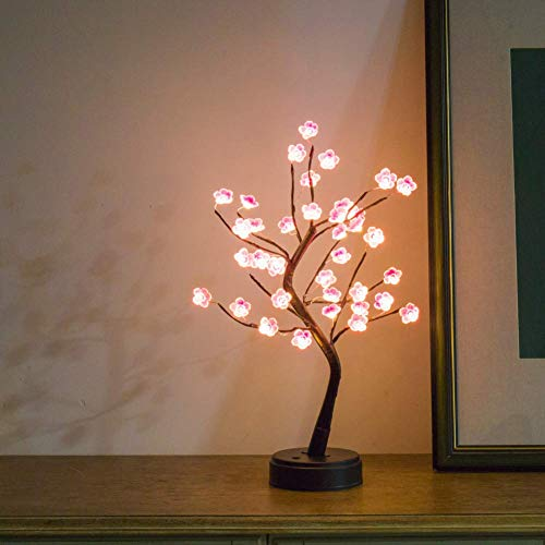 Cherry Blossom Bonsai Tree Light Lamp, 18' Decorative LED Tree Lamp Japanese Decor Battery and USB Plug in Flower Tabletop Lighted Tree Table Lamp Modern Home Decor, Lit Tree Centerpieces Indoor Decor