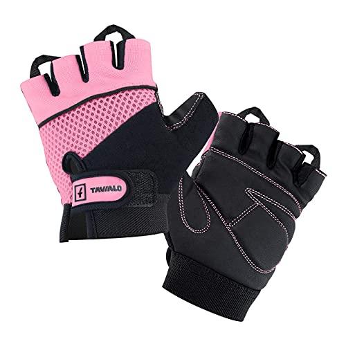 TAVIALO Guantes de Fitness para Mujer S (13-16 cm), Color Rosa/Negro, Guantes de Gimnasio Mujer para Crossfit Bodybuilding Bicicleta Entrenamiento Deporte. Palma en Piel, Dorso Transpirable
