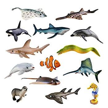 TOYMANY 14PCS Realistic Sea Animals Figurines 2-6  Plastic Ocean Animals Figures Set Includes Orca/Beluga Whale,Sharks,Dolphin,Fish Baby Shower Toy Cake Toppers Birthday Gift for Kids Toddlers