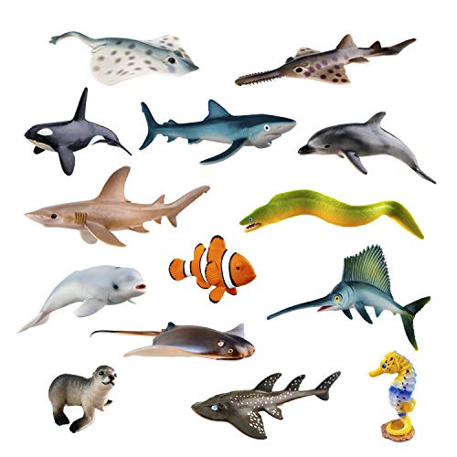 "TOYMANY 14PCS Realistic Sea Animals Figurines, 2-6"" Plastic Ocean Animals Figures Set Includes Orca/Beluga Whale,Sharks,Dolphin,Fish, Baby Shower Toy Cake Toppers Birthday Gift for Kids Toddlers"