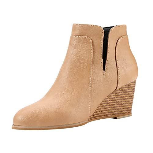 Fomino Stivaletti da donna con tacco a cuneo e zeppa, stivali da neve, Chelsea Boots Worker Boots, beige., 41 EU