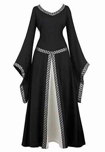 jutrisujo Mittelalter Kleid Renaissance mit Trompetenärmel Party Kostüm bodenlang Vintage Retro Costume Cosplay Damen Schwarz XL