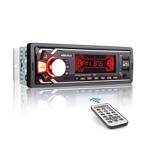 Autoradio Bluetooth Main Libre, 2 Ports USB Poste Stéréo Radio, 1 Din Radio Voiture, 7 Couleurs d éclairage FM USB SD AUX EQ   MP3 Player + Télécommande
