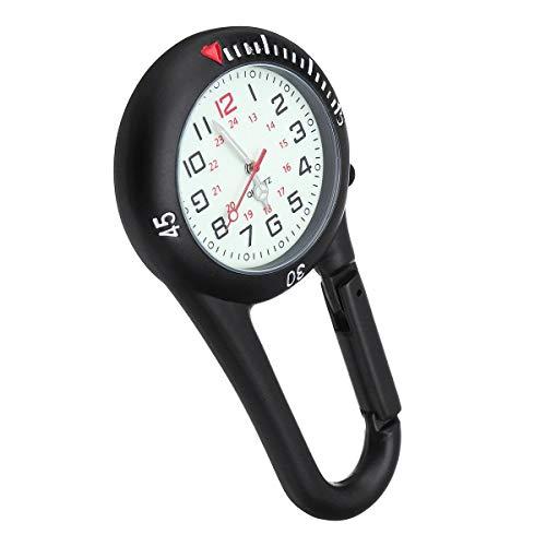 Enfermera del clip doctor Negro reloj de mosquetón con bisel giratorio luminosa cara Para experimentos científicos