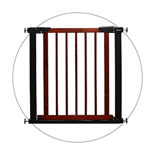 Best Prices! HYDT Cherry Red Dog Gate with Wooden Door, 65-208cm Wide Walk-Through Safety Baby Gates...