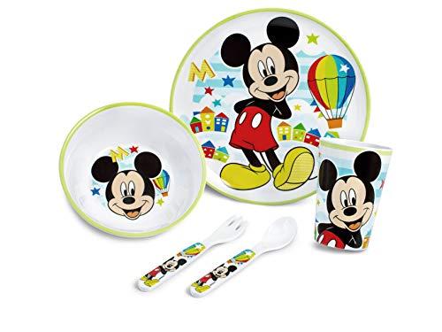 Lulabi Mickey Simply - Juego de 5 piezas para niño, melamina, 1,8 kg
