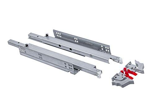 Gedotec Schubladenschienen Vollauszug 450 mm Schubladen-Auszug mit Dämpfung | Teleskopschienen MOOVIT | Tragkraft 30 kg | Schienen für Holz-Schubkästen | 1 Paar - Auszüge aus Stahl mit Kupplungen