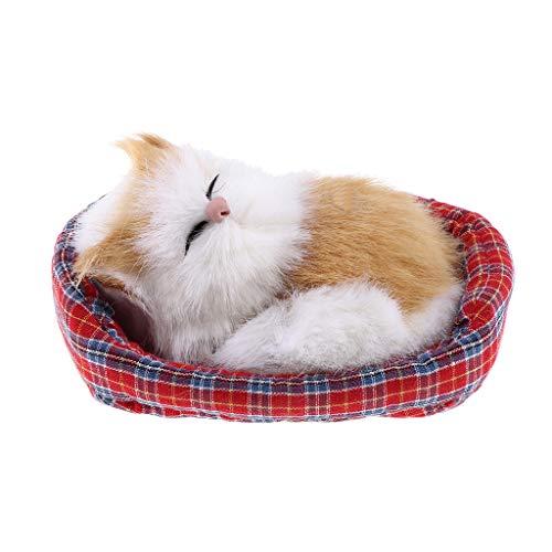 FLAMEER Lebensechte Schlafende Plüsch Katze mit Decke Dekofigur Tierfigur Spielzeug Tischdekoration - D