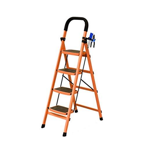 WHF Trittleiter , Leiter , Trittleiter Trittleiter Vierstufige Leitern Blau/Orange/Rot Metallleiter Warehouse Multifunktions-Trittleiter/Klappstufen,Orange,43 X 76 X 138 cm