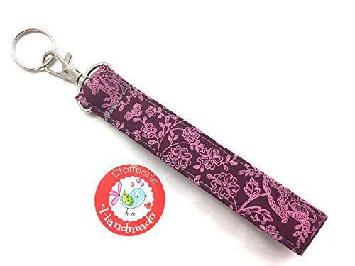 Schlüsselanhänger - Blumen & Ranken - beere/rosa - Trachtenstoff - Dirndl