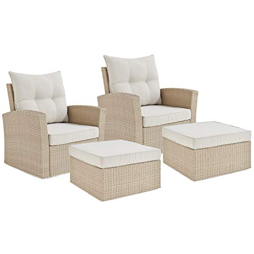 UKN 4-Piece Outdoor Wicker Chairs and Ottomans Set Cream Resin