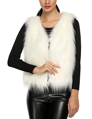 Tanming Women's Fashion Autumn And Winter Warm Short Faux Fur Vests (XX-Large, White)