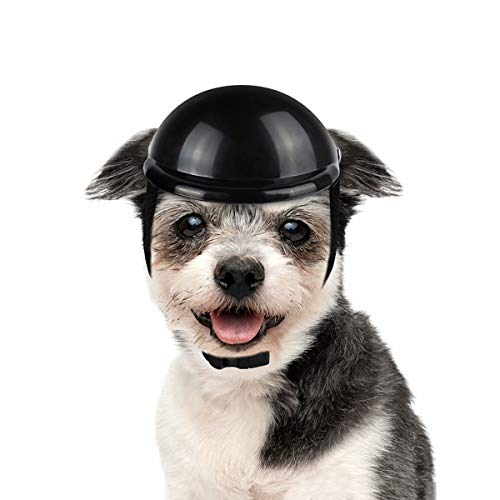 LESYPET Dog Helmet -Paded Pet Motorcycle Helmet Safety Cap for Small Cats Dogs' Biking Cycling, Black