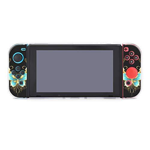 Schutzhülle für Nintendo Switch, kratzfest, PC, kompatibel mit Switch und Joy-Con-Controllern, 5-teilig, schmal, Goldschmuck, Schmetterlinge