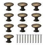 10 tiradores redondos vintage para cajones de estilo retro con tiradores de metal semicírculo, tiradores para puerta de armario y cajón, pomos para muebles de bronce antiguo
