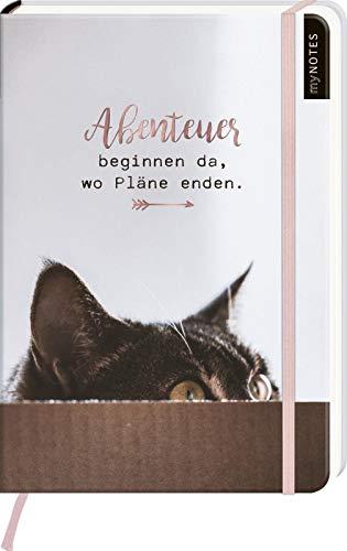myNOTES Notizbuch A5: Abenteuer beginnen da, wo Pläne enden - notebook medium, dotted - für Träume, Pläne und Ideen / ideal als Bullet Journal oder Tagebuch