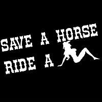 ファッショナブルなクールなクリエイティブステッカー 13X17.5CM面白い国を保存する馬に乗る騎乗位ビニール引用ステッカー車デカールセクシーな女性のラップトップ車のトランクの装飾 (Color : White)