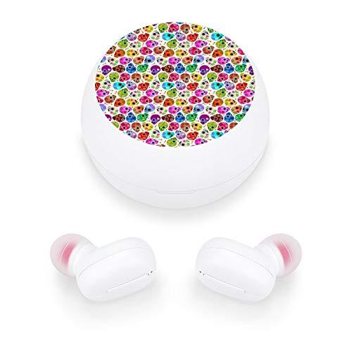Audífonos inalámbricos elegantes y hermosos auriculares Bluetooth con mini estuche de carga, regalo para mujeres y niñas para llamadas/hogar/oficina/correr/fitness (calavera blanca pequeña)