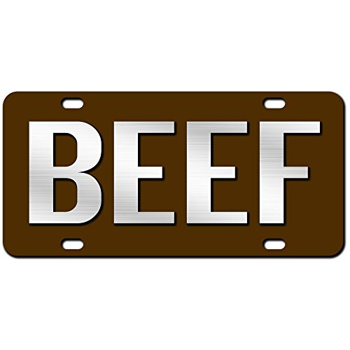 JASS GRAPHIX Beef License Plate Brushed Aluminum on Brown 2-D Farmer Heavy Duty