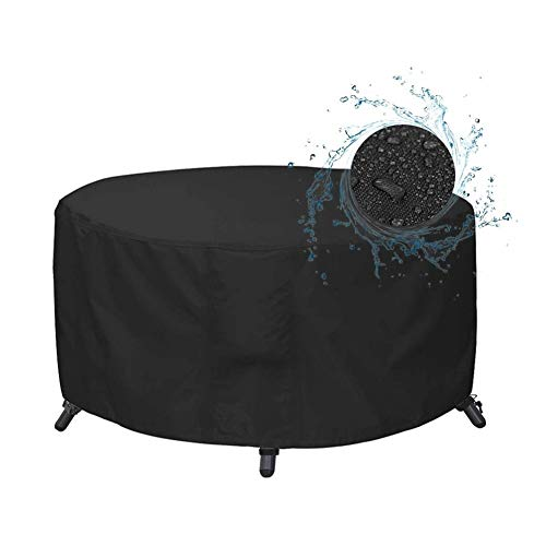 NINGWXQ Round Table Cover Garden Furniture Cover Waterdicht Tarpaulin Stof/Sun Protection 210D Oxford doek koord terras, op maat gemaakte, 2 kleuren (Color : Black, Size : 60x60cm)