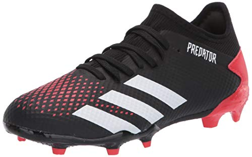 adidas Men's Predator 20.3 Firm Ground Soccer Shoe, Core Black/White/Active Red, 13